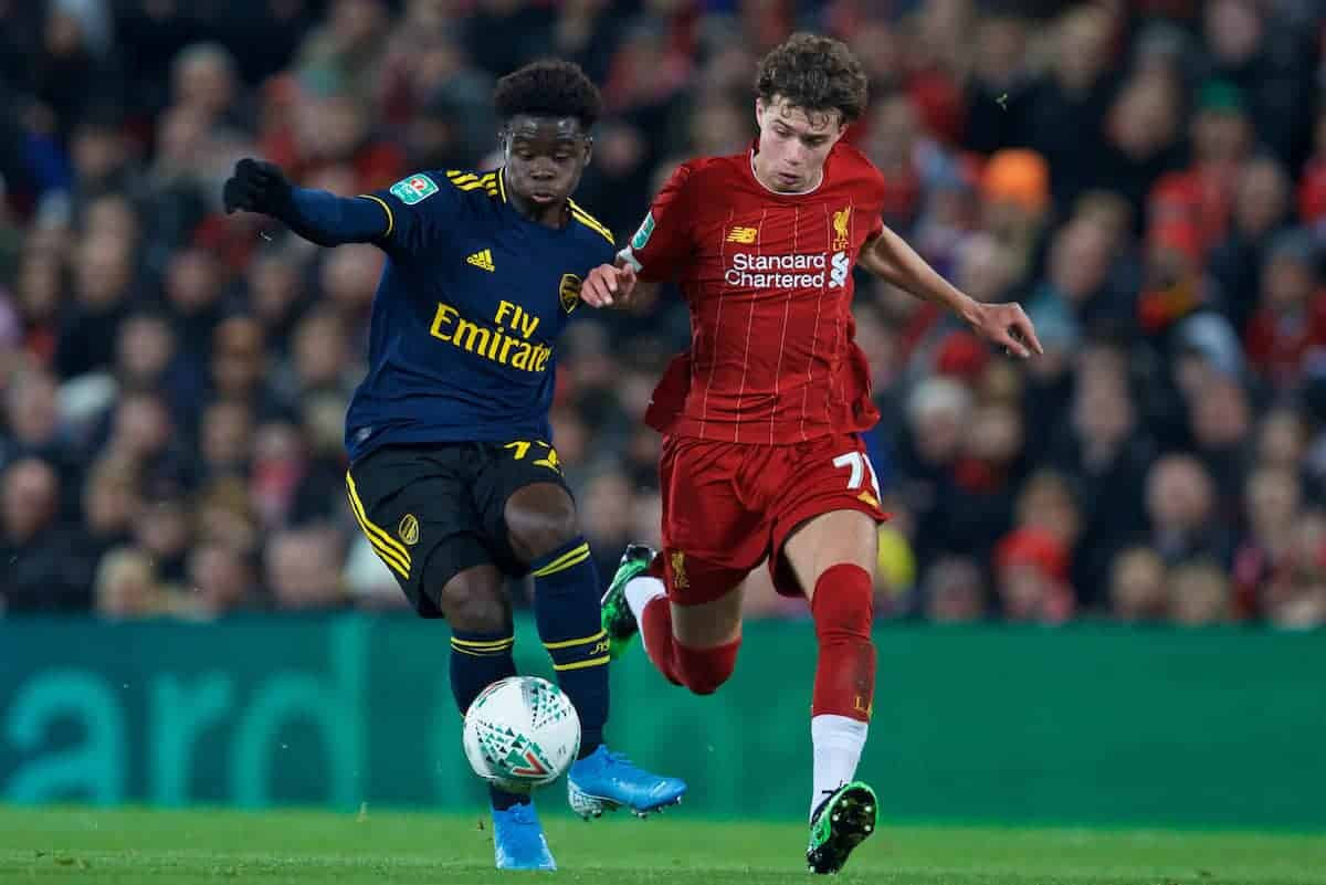 LIVERPOOL, ENGLAND - Wednesday, October 30, 2019: Arsenal's Bukayo Saka(L) and Liverpool's Neco Williams during the Football League Cup 4th Round match between Liverpool FC and Arsenal FC at Anfield. (Pic by David Rawcliffe/Propaganda)