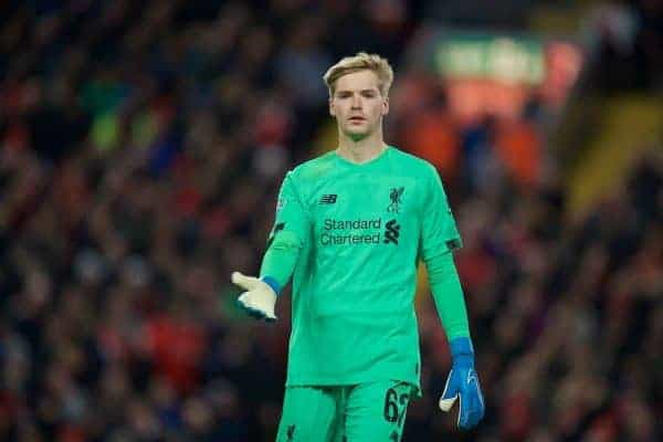 LIVERPOOL, ENGLAND - Wednesday, October 30, 2019: Liverpool's goalkeeper Caoimhin Kelleher during the Football League Cup 4th Round match between Liverpool FC and Arsenal FC at Anfield. (Pic by David Rawcliffe/Propaganda)