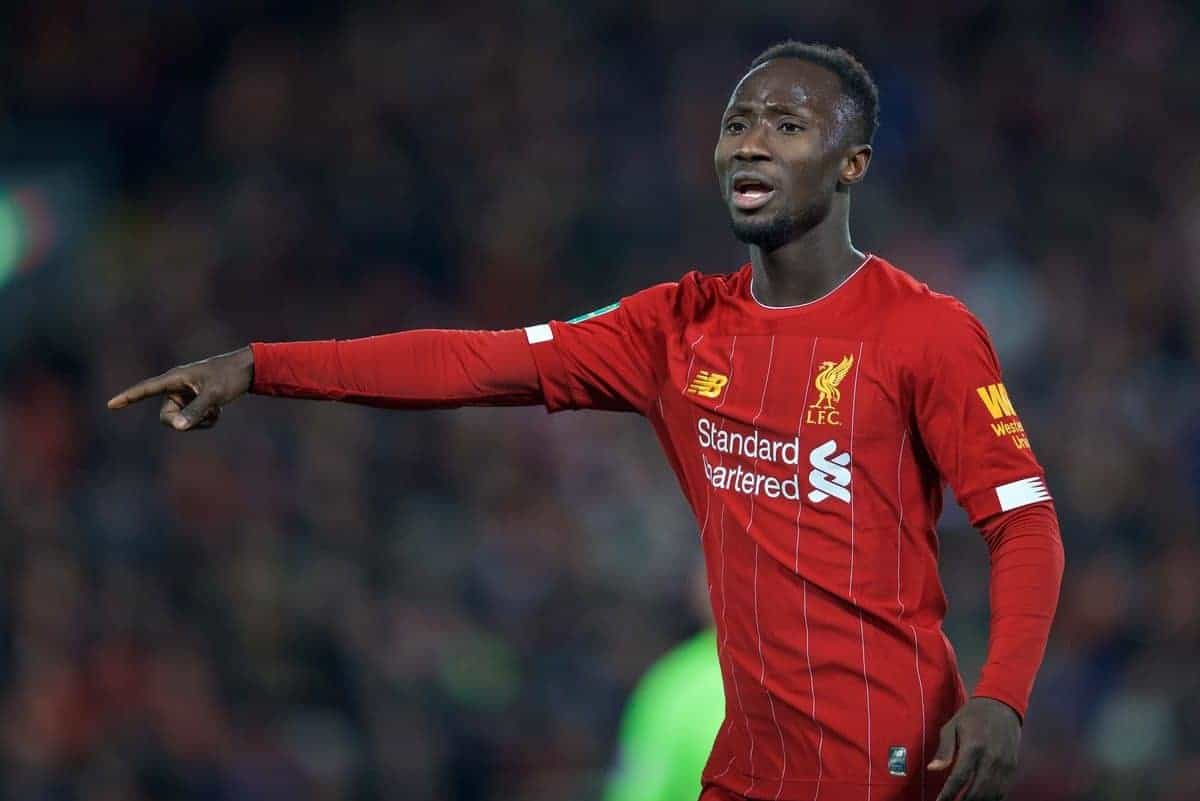 LIVERPOOL, ENGLAND - Wednesday, October 30, 2019: Liverpool's Naby Keita during the Football League Cup 4th Round match between Liverpool FC and Arsenal FC at Anfield. (Pic by David Rawcliffe/Propaganda)