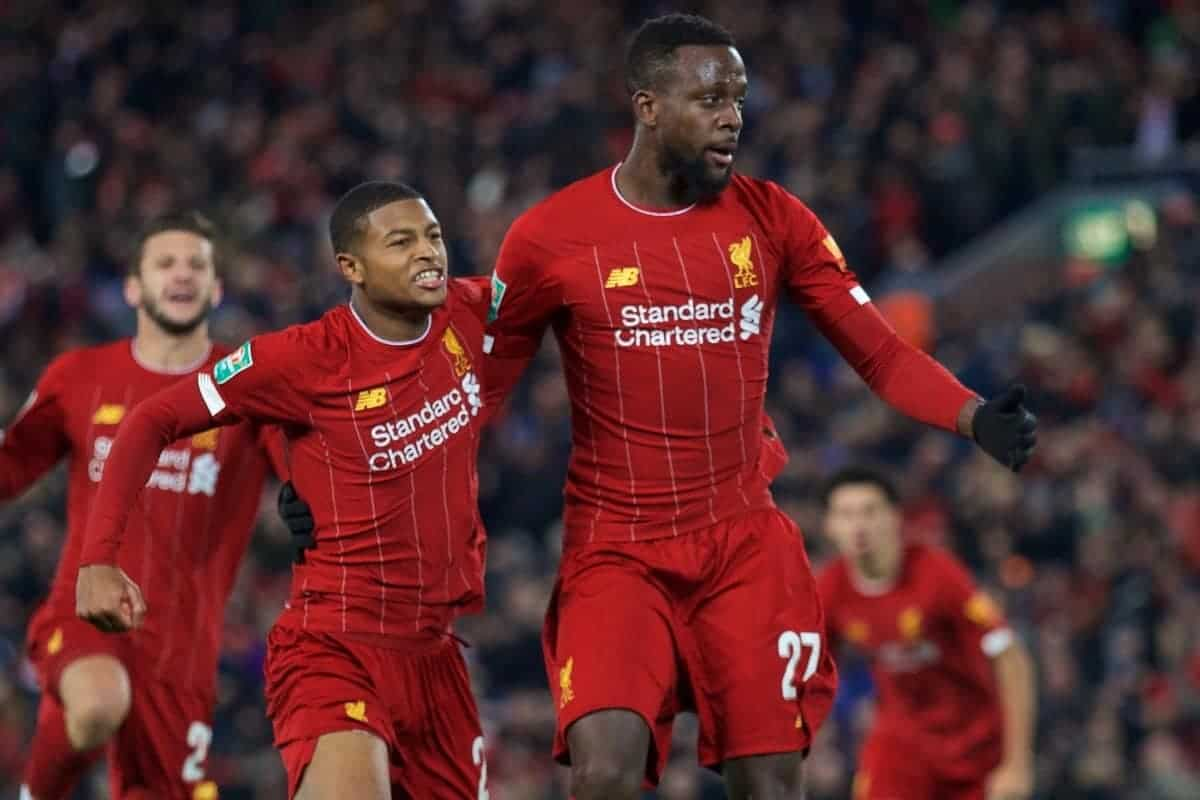LIVERPOOL, ENGLAND - Wednesday, October 30, 2019: Liverpool's Divock Origi (R) celebrates scoring the fourth goal, to level the score at 4-4, with team-mate Rhian Brewster during the Football League Cup 4th Round match between Liverpool FC and Arsenal FC at Anfield. (Pic by David Rawcliffe/Propaganda)
