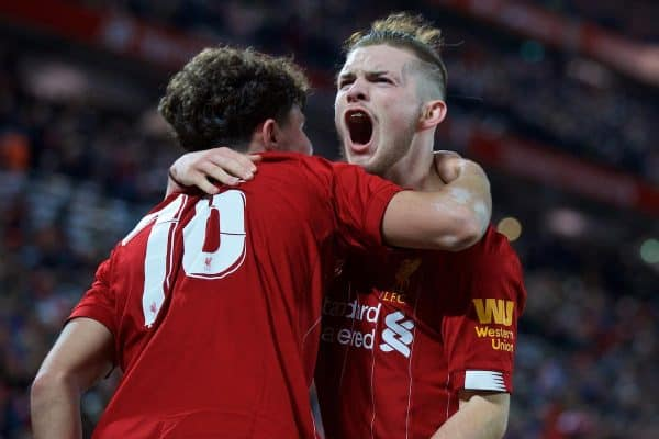 LIVERPOOL, ENGLAND - Wednesday, October 30, 2019: Liverpool's Harvey Elliott celebrates with team-mate Neco Williams after the fifth goal during the Football League Cup 4th Round match between Liverpool FC and Arsenal FC at Anfield. (Pic by David Rawcliffe/Propaganda)