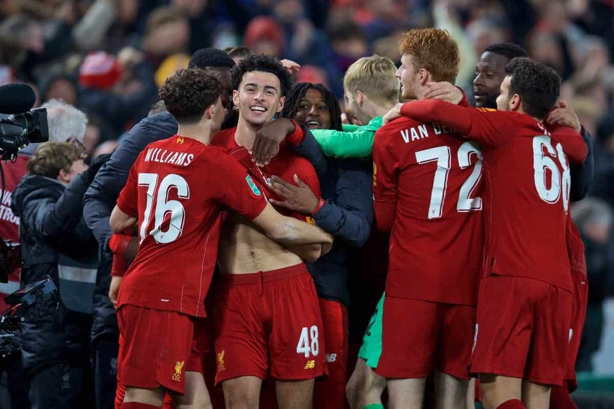 LIVERPOOL, ENGLAND - Wednesday, October 30, 2019: Liverpool's Curtis Jones (#48) celebrates with team-mates after scoring the winning fifth penalty of the shoot out during the Football League Cup 4th Round match between Liverpool FC and Arsenal FC at Anfield. Liverpool won 5-4 on penalties after a 5-5 draw. (Pic by David Rawcliffe/Propaganda)