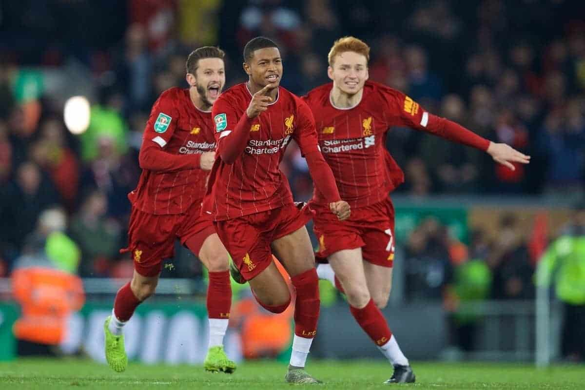 LIVERPOOL, ENGLAND - Wednesday, October 30, 2019: Liverpool's Adam Lallana, Rhian Brewster and Sepp Van Den Berg celebrate after the Football League Cup 4th Round match between Liverpool FC and Arsenal FC at Anfield. Liverpool won 5-4 on penalties after a 5-5 draw. (Pic by David Rawcliffe/Propaganda)