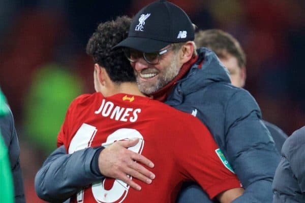 LIVERPOOL, ENGLAND - Wednesday, October 30, 2019: Liverpool's manager Jürgen Klopp celebrates with winning penalty taker Curtis Jones, who scored the final penalty of the shoot out after the Football League Cup 4th Round match between Liverpool FC and Arsenal FC at Anfield. Liverpool won 5-4 on penalties after a 5-5 draw. (Pic by David Rawcliffe/Propaganda)