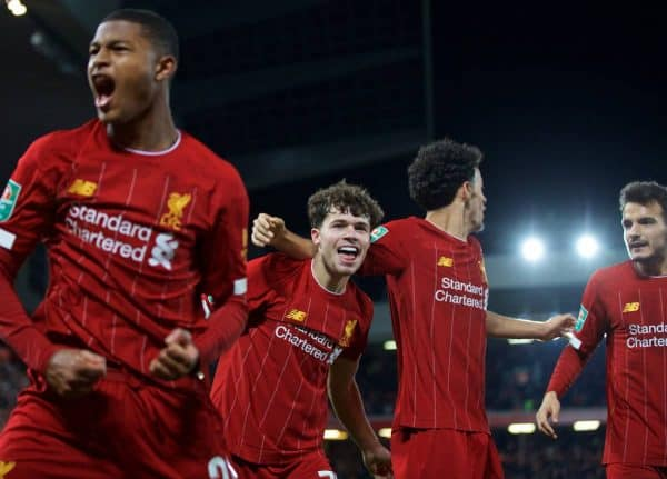 LIVERPOOL, ENGLAND - Wednesday, October 30, 2019: Liverpool's Neco Williams celebrates after setting-up the fifth goal in injury time to seal a 505 draw and send the game to a penalty shoot out during the Football League Cup 4th Round match between Liverpool FC and Arsenal FC at Anfield. Liverpool won 5-4 on penalties after a 5-5 draw. (Pic by David Rawcliffe/Propaganda)