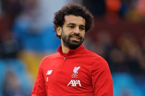 BIRMINGHAM, ENGLAND - Saturday, November 2, 2019: Liverpool's Mohamed Salah during the pre-match warm-up before during the FA Premier League match between Aston Villa FC and Liverpool FC at Villa Park. (Pic by David Rawcliffe/Propaganda)