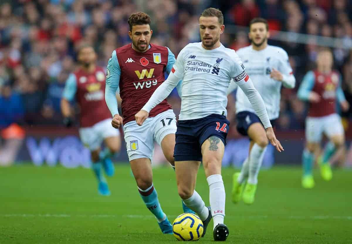 BIRMINGHAM, ENGLAND - Saturday, November 2, 2019: Liverpool's captain Jordan Henderson (R) and Aston Villa's Mahmoud Ahmed Ibrahim Hassan 'Trézéguet' during the FA Premier League match between Aston Villa FC and Liverpool FC at Villa Park. (Pic by David Rawcliffe/Propaganda)