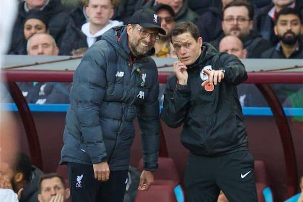Liverpool's manager Jürgen Klopp (L) and the fourth official during the FA Premier League match between Aston Villa FC and Liverpool FC at Villa Park. (Pic by David Rawcliffe/Propaganda)