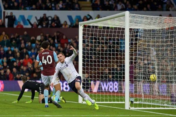 BIRMINGHAM, ENGLAND - Saturday, November 2, 2019: Liverpool's Andy Robertson celebrates scoring the first equalising goal during the FA Premier League match between Aston Villa FC and Liverpool FC at Villa Park. (Pic by David Rawcliffe/Propaganda)