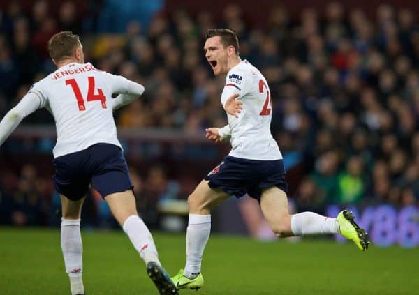BIRMINGHAM, ENGLAND - Saturday, November 2, 2019: Liverpool's Andy Robertson celebrates scoring the first equalising goal during the FA Premier League match between Aston Villa FC and Liverpool FC at Villa Park. Liverpool won 2-1. (Pic by David Rawcliffe/Propaganda)