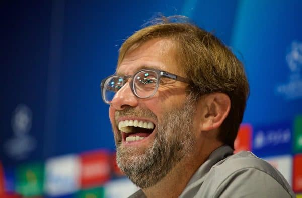 LIVERPOOL, ENGLAND - Monday, November 4, 2019: Liverpool's manager Jürgen Klopp during a press conference at Anfield ahead of the UEFA Champions League Group E match between Liverpool FC and KRC Genk. (Pic by David Rawcliffe/Propaganda)