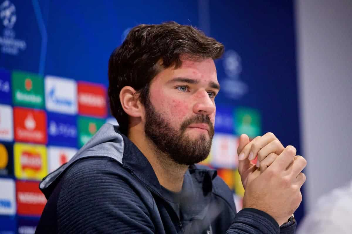 LIVERPOOL, ENGLAND - Monday, November 4, 2019: Liverpool's goalkeeper Alisson Becker during a press conference at Anfield ahead of the UEFA Champions League Group E match between Liverpool FC and KRC Genk. (Pic by David Rawcliffe/Propaganda)
