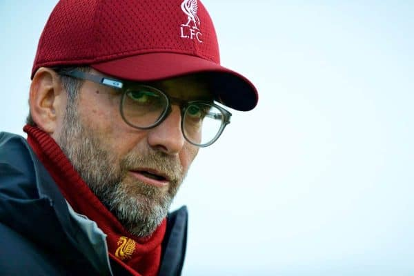 LIVERPOOL, ENGLAND - Monday, November 4, 2019: Liverpool's manager Jürgen Klopp during a training session at Melwood Training Ground ahead of the UEFA Champions League Group E match between Liverpool FC and KRC Genk. (Pic by David Rawcliffe/Propaganda)