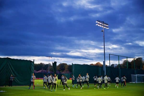 LIVERPOOL, ENGLAND - Monday, November 4, 2019: Liverpool's xxxx during a training session at Melwood Training Ground ahead of the UEFA Champions League Group E match between Liverpool FC and KRC Genk. (Pic by David Rawcliffe/Propaganda)