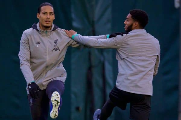 LIVERPOOL, ENGLAND - Monday, November 4, 2019: Liverpool's Virgil van Dijk (L) and Joe Gomez during a training session at Melwood Training Ground ahead of the UEFA Champions League Group E match between Liverpool FC and KRC Genk. (Pic by David Rawcliffe/Propaganda)