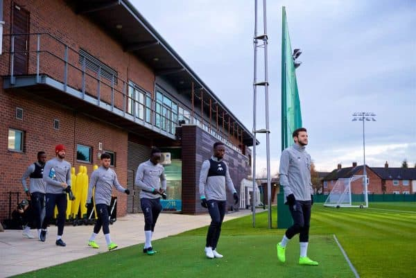 LIVERPOOL, ENGLAND - Monday, November 4, 2019: Liverpool players walk out before a training session at Melwood Training Ground ahead of the UEFA Champions League Group E match between Liverpool FC and KRC Genk. Divock Origi, goalkeeper Alisson Becker, Alex Oxlade-Chamberlain, Sadio Mané, Naby Keita, Adam Lallana. (Pic by David Rawcliffe/Propaganda)