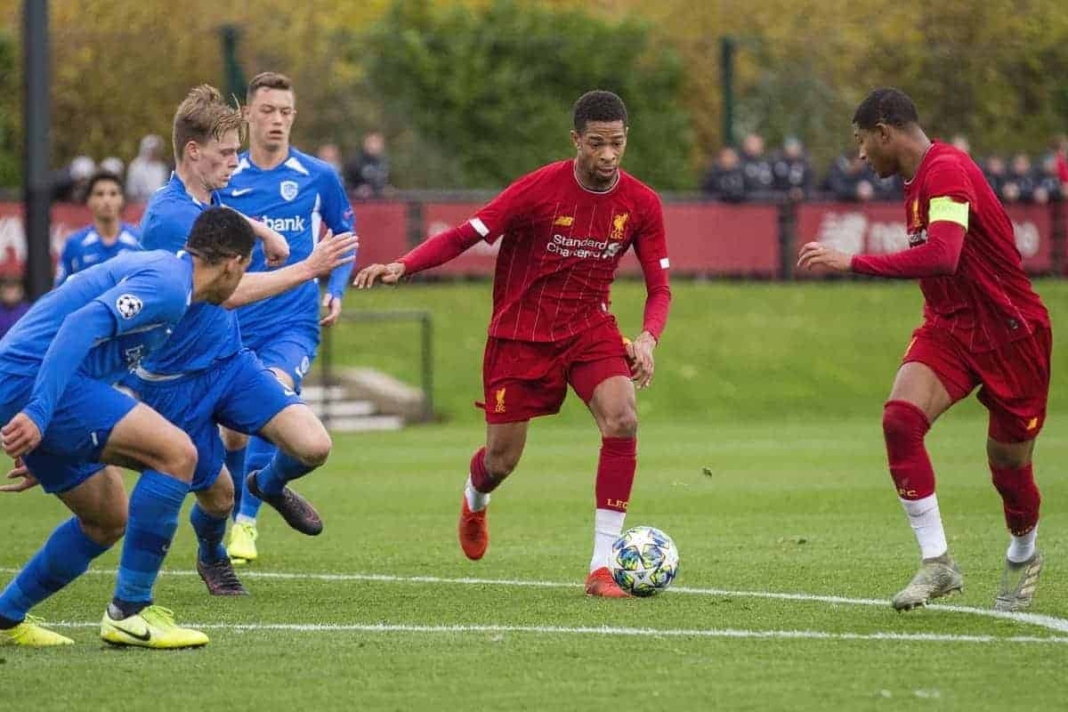KIRKBY, ENGLAND - Tuesday, November 5, 2019: Liverpool's Elijah Dixon Bonner during the UEFA Youth League Group E match between Liverpool FC Under-19's and KRC Genk Under-19's at the Liverpool Academy. (Pic by Laura Malkin/Propaganda)