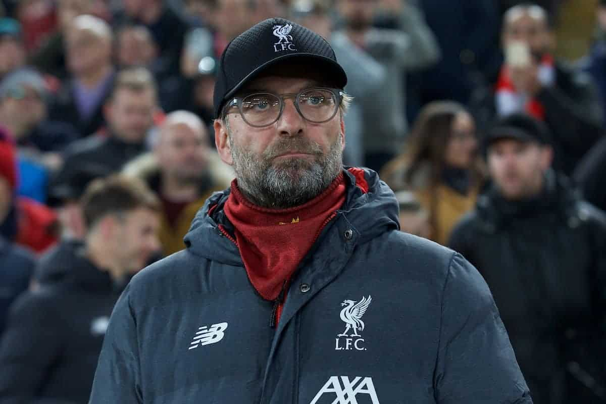 LIVERPOOL, ENGLAND - Tuesday, November 5, 2019: Liverpool's manager Jürgen Klopp before the UEFA Champions League Group E match between Liverpool FC and KRC Genk at Anfield. (Pic by Laura Malkin/Propaganda)
