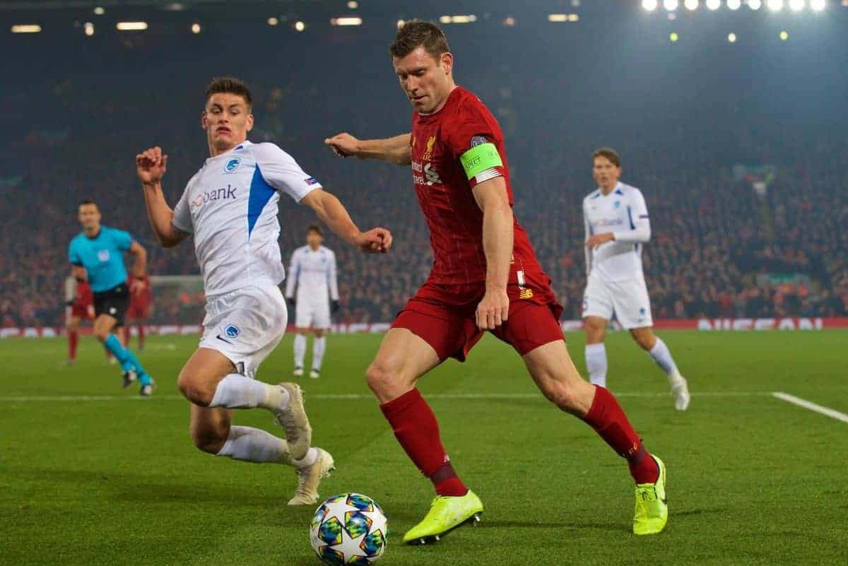 Liverpool's James Milner during the UEFA Champions League Group E match between Liverpool FC and KRC Genk at Anfield. (Pic by Laura Malkin/Propaganda)