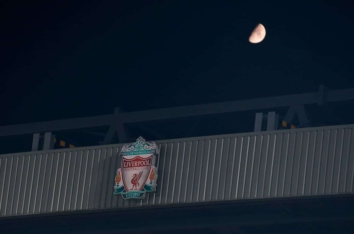 A half moon rises above Anfield during the UEFA Champions League Group E match between Liverpool FC and KRC Genk at Anfield. (Pic by Laura Malkin/Propaganda)