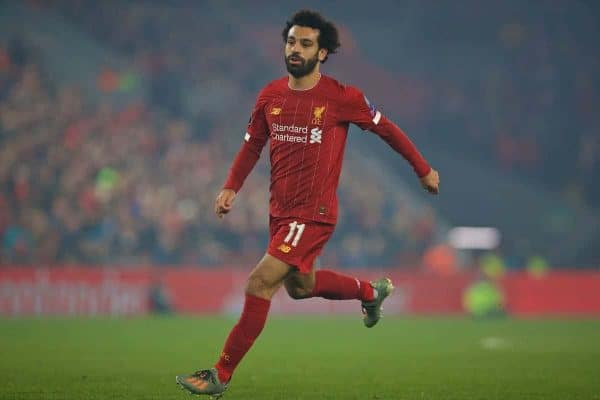 LIVERPOOL, ENGLAND - Tuesday, November 5, 2019: Liverpool's Mohamed Salah during the UEFA Champions League Group E match between Liverpool FC and KRC Genk at Anfield. (Pic by Laura Malkin/Propaganda)