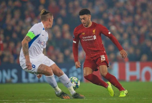 LIVERPOOL, ENGLAND - Tuesday, November 5, 2019: Liverpool's Alex Oxlade-Chamberlain during the UEFA Champions League Group E match between Liverpool FC and KRC Genk at Anfield. (Pic by Laura Malkin/Propaganda)