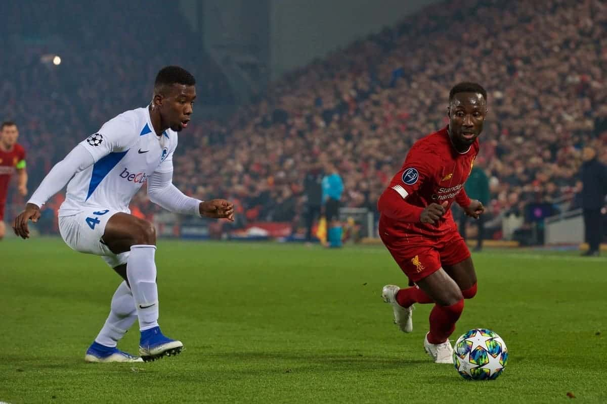 Liverpool's Naby Keita (R) and KRC Genk's Carlos Cuesta during the UEFA Champions League Group E match between Liverpool FC and KRC Genk at Anfield. (Pic by Laura Malkin/Propaganda)