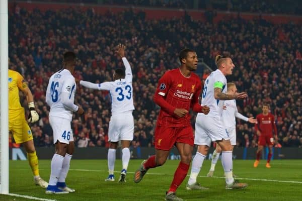LIVERPOOL, ENGLAND - Tuesday, November 5, 2019: Liverpool's Georginio Wijnaldum celebrates scoring the first goal during the UEFA Champions League Group E match between Liverpool FC and KRC Genk at Anfield. (Pic by Laura Malkin/Propaganda)