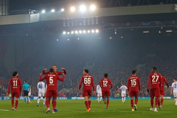 LIVERPOOL, ENGLAND - Tuesday, November 5, 2019: Liverpool's Georginio Wijnaldum (#5) celebrates scoring the first goal with team-mate Virgil van Dijk during the UEFA Champions League Group E match between Liverpool FC and KRC Genk at Anfield. (Pic by Laura Malkin/Propaganda)