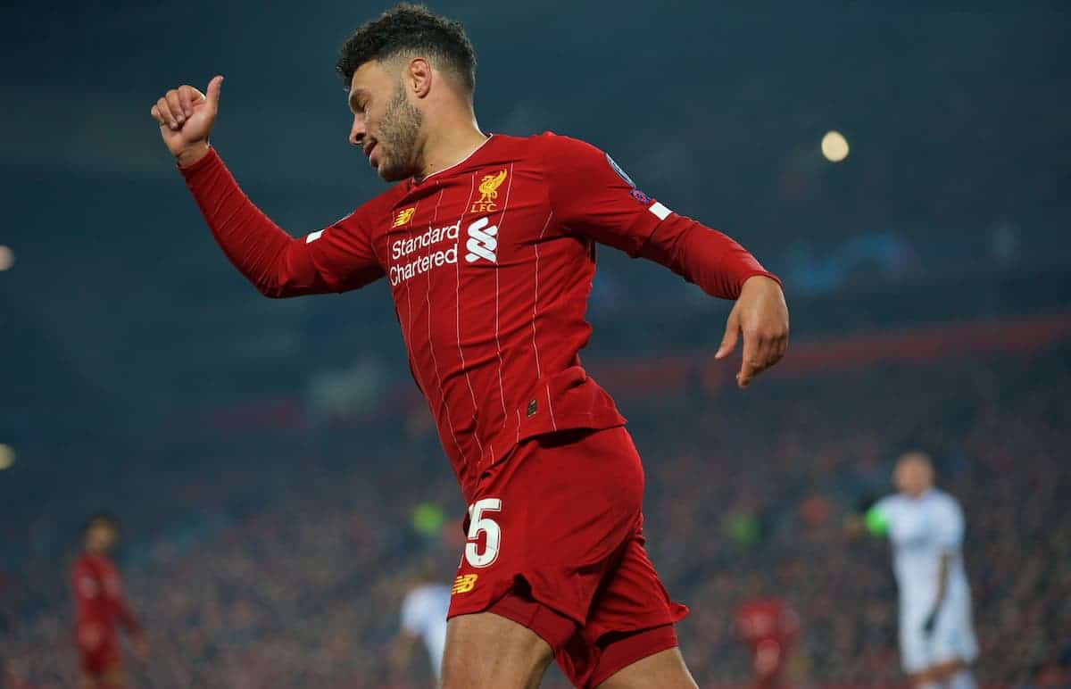 LIVERPOOL, ENGLAND - Tuesday, November 5, 2019: Liverpool's Alex Oxlade-Chamberlain celebrates scoring the second goal during the UEFA Champions League Group E match between Liverpool FC and KRC Genk at Anfield. (Pic by Laura Malkin/Propaganda)