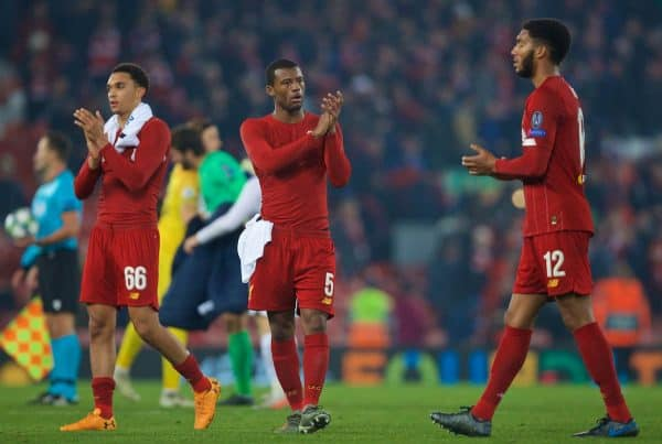 LIVERPOOL, ENGLAND - Tuesday, November 5, 2019: Liverpool's goal-scorer Georginio Wijnaldum (C) applauds the supporters after during the UEFA Champions League Group E match between Liverpool FC and KRC Genk at Anfield. Liverpool won 2-1. (Pic by Laura Malkin/Propaganda)