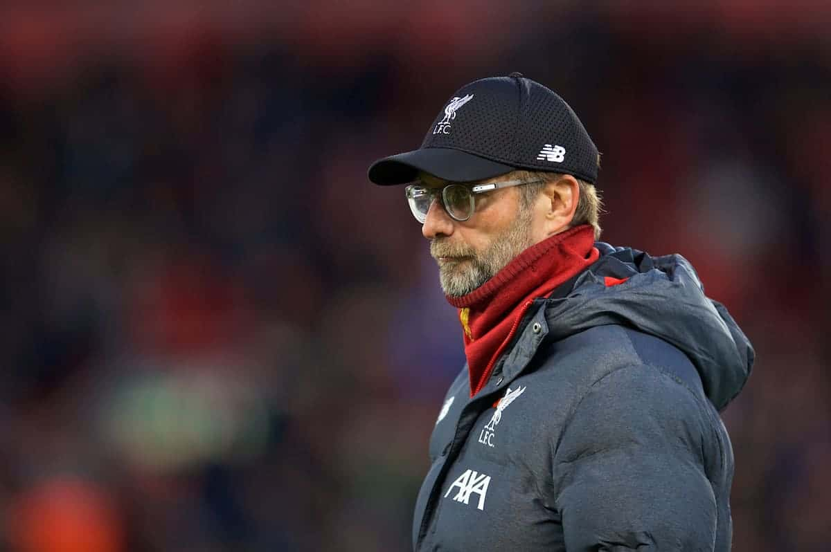 Liverpool's manager Jürgen Klopp during the pre-match warm-up before the FA Premier League match between Liverpool FC and Manchester City FC at Anfield. (Pic by David Rawcliffe/Propaganda)