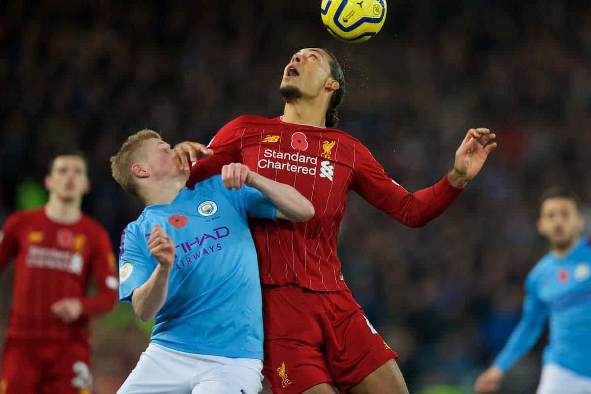 LIVERPOOL, ENGLAND - Sunday, November 10, 2019: Liverpool's Virgil van Dijk (R) challenges for a header with Manchester City's Kevin De Bruyne during the FA Premier League match between Liverpool FC and Manchester City FC at Anfield. (Pic by David Rawcliffe/Propaganda)
