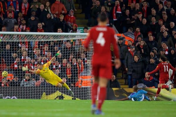 LIVERPOOL, ENGLAND - Sunday, November 10, 2019: Liverpool's Mohamed Salah scores the second goal during the FA Premier League match between Liverpool FC and Manchester City FC at Anfield. (Pic by David Rawcliffe/Propaganda)