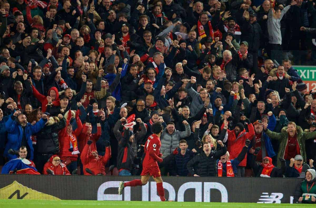 LIVERPOOL, ENGLAND - Sunday, November 10, 2019: Liverpool's Mohamed Salah celebrates scoring the second goal during the FA Premier League match between Liverpool FC and Manchester City FC at Anfield. (Pic by David Rawcliffe/Propaganda)