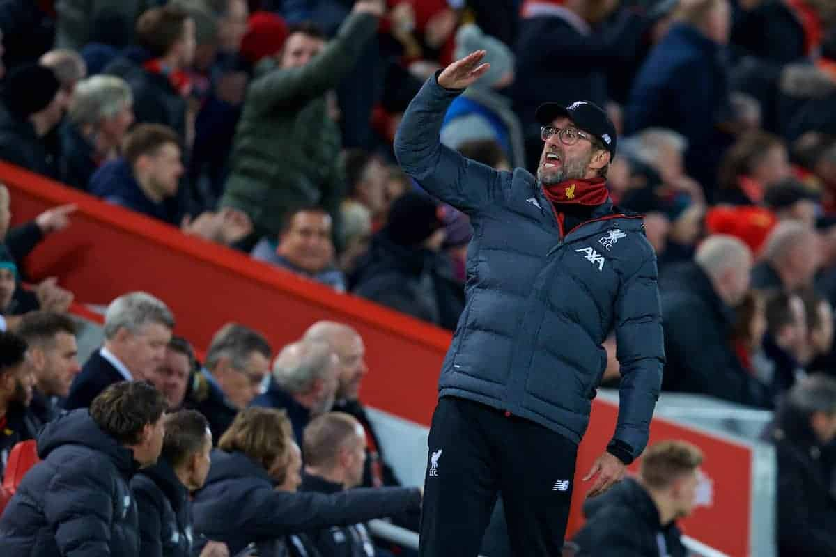 LIVERPOOL, ENGLAND - Sunday, November 10, 2019: Liverpool's manager Jürgen Klopp reacts during the FA Premier League match between Liverpool FC and Manchester City FC at Anfield. (Pic by David Rawcliffe/Propaganda)