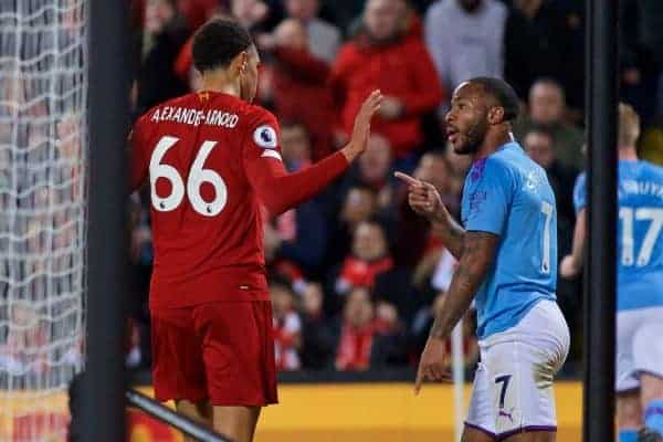 LIVERPOOL, ENGLAND - Sunday, November 10, 2019: Manchester City's Raheem Sterling points after hitting out at Liverpool's Trent Alexander-Arnold during the FA Premier League match between Liverpool FC and Manchester City FC at Anfield. (Pic by David Rawcliffe/Propaganda)