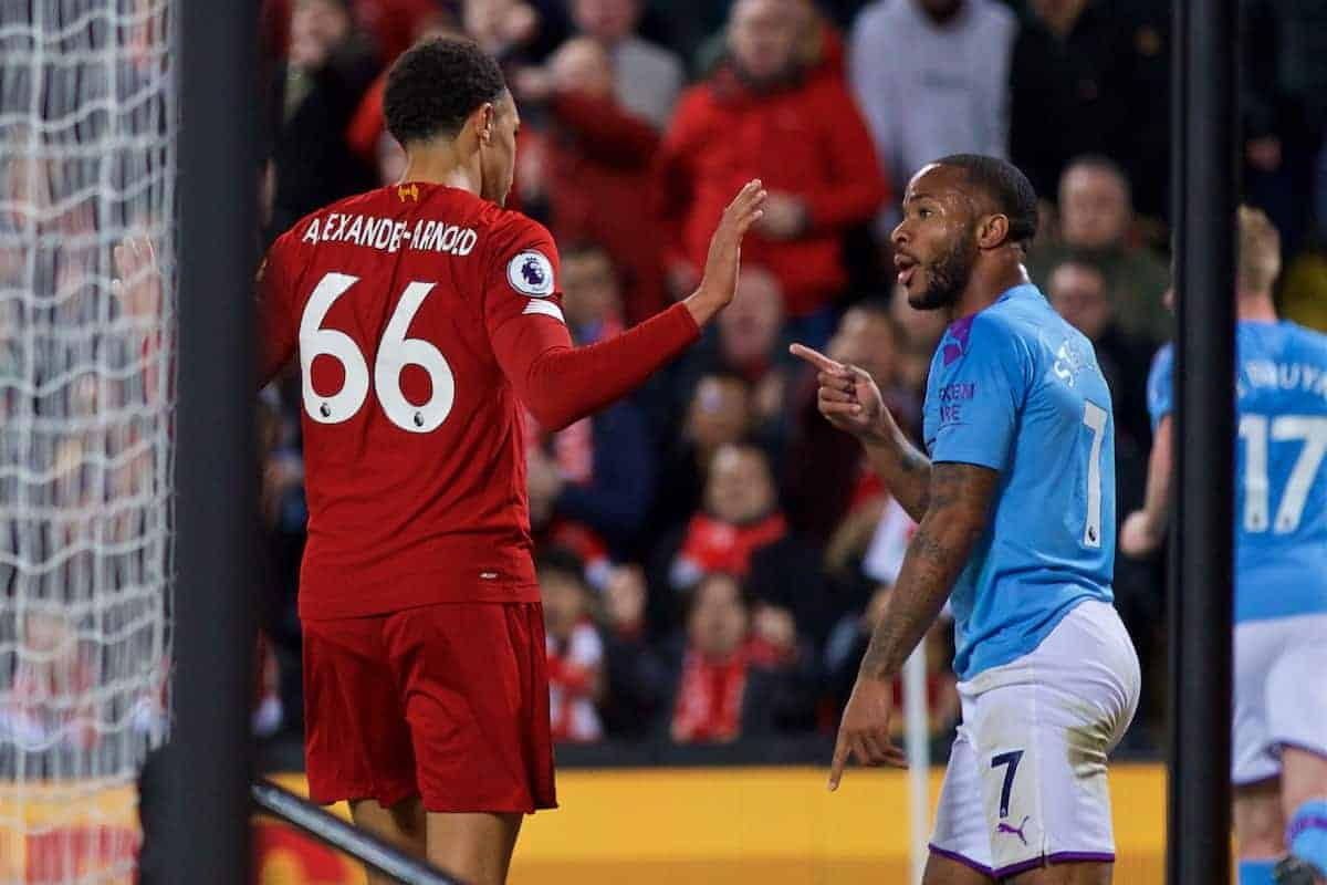 Manchester City's Raheem Sterling points after hitting out at Liverpool's Trent Alexander-Arnold during the FA Premier League match between Liverpool FC and Manchester City FC at Anfield. (Pic by David Rawcliffe/Propaganda)