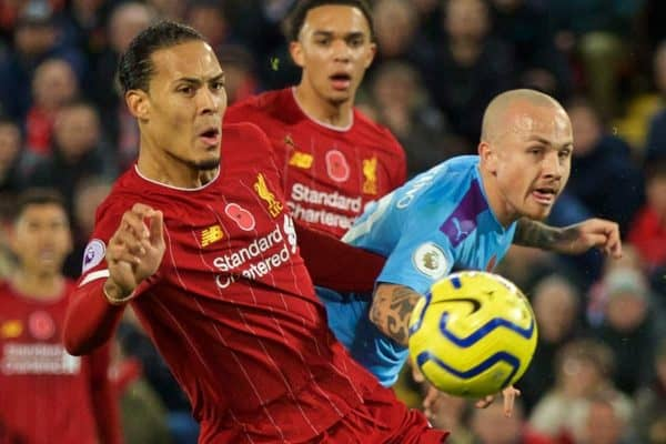 LIVERPOOL, ENGLAND - Sunday, November 10, 2019: Liverpool's Virgil van Dijk l;' and Manchester City's José Ángel Esmorís Tasende 'Angeliño' during the FA Premier League match between Liverpool FC and Manchester City FC at Anfield. (Pic by David Rawcliffe/Propaganda)