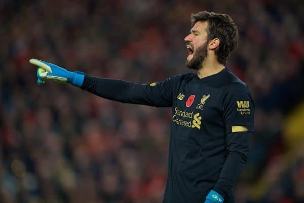 LIVERPOOL, ENGLAND - Sunday, November 10, 2019: Liverpool's goalkeeper Alisson Becker during the FA Premier League match between Liverpool FC and Manchester City FC at Anfield. (Pic by David Rawcliffe/Propaganda)