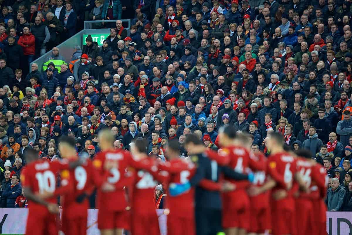 LIVERPOOL, ENGLAND - Sunday, November 10, 2019: Liverpool supporters and players stand for a minute's silence on Remembrance Sunday to remember all those who lost their lives during the two World Wars, before the FA Premier League match between Liverpool FC and Manchester City FC at Anfield. (Pic by David Rawcliffe/Propaganda)
