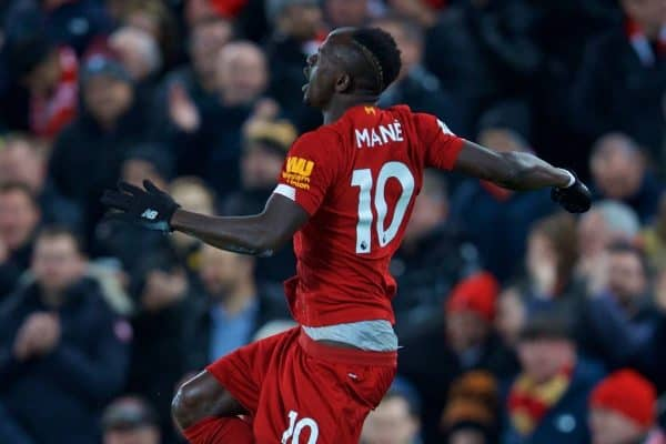 LIVERPOOL, ENGLAND - Sunday, November 10, 2019: Liverpool's Sadio Mané celebrates scoring the third goal during the FA Premier League match between Liverpool FC and Manchester City FC at Anfield. (Pic by David Rawcliffe/Propaganda)