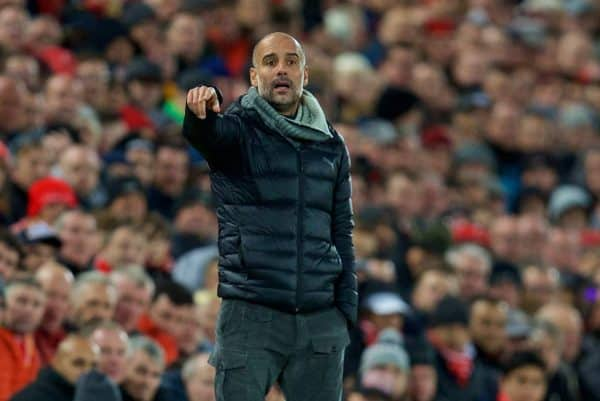 LIVERPOOL, ENGLAND - Sunday, November 10, 2019: Manchester City's head coach Pep Guardiola reacts during the FA Premier League match between Liverpool FC and Manchester City FC at Anfield. (Pic by David Rawcliffe/Propaganda)