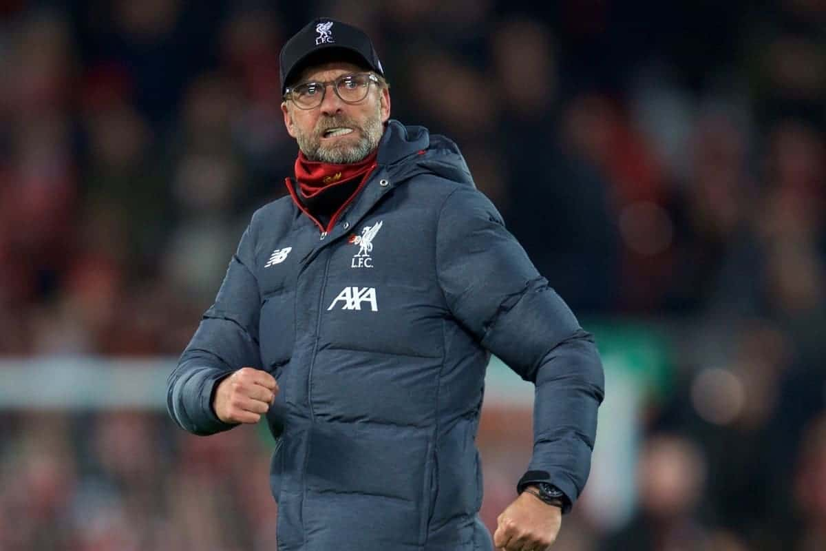 LIVERPOOL, ENGLAND - Sunday, November 10, 2019: Liverpool's manager Jürgen Klopp celebrates after during the FA Premier League match between Liverpool FC and Manchester City FC at Anfield. Liverpool won 3-1. (Pic by David Rawcliffe/Propaganda)