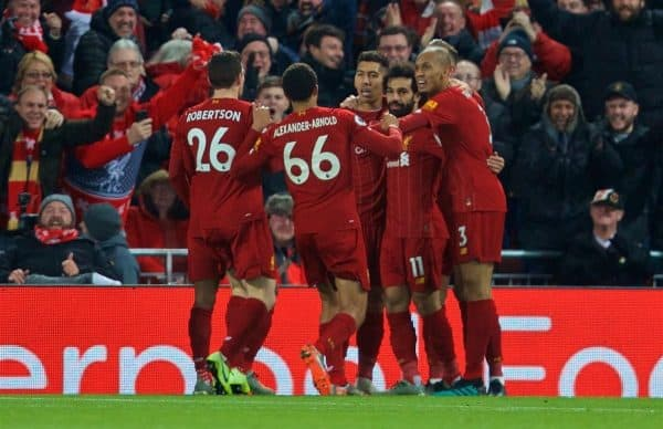 LIVERPOOL, ENGLAND - Sunday, November 10, 2019: Liverpool's Mohamed Salah (#11) celebrates scoring the first goal with team-mates during the FA Premier League match between Liverpool FC and Manchester City FC at Anfield. Liverpool won 3-1. (Pic by David Rawcliffe/Propaganda)