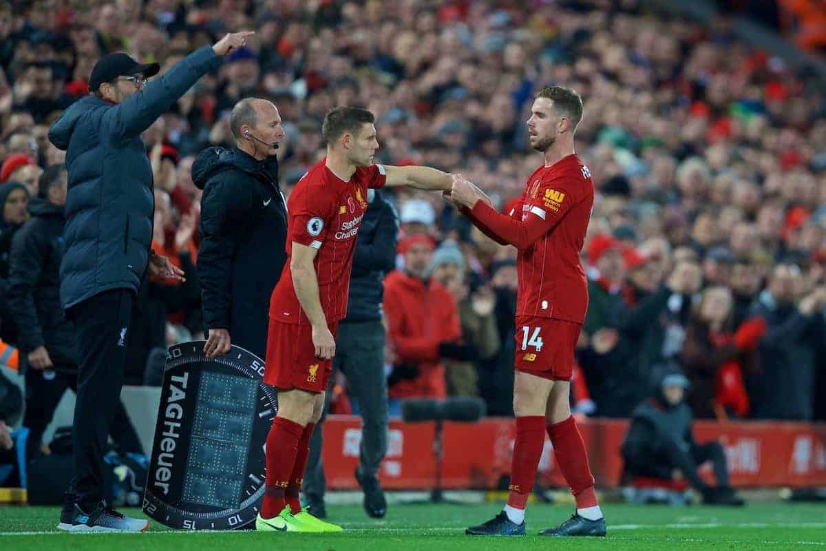 LIVERPOOL, ENGLAND - Sunday, November 10, 2019: Liverpool's captain Jordan Henderson hands over the captain's armband to James Milner as he is substituted during the FA Premier League match between Liverpool FC and Manchester City FC at Anfield. (Pic by David Rawcliffe/Propaganda)