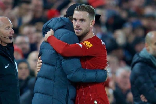 LIVERPOOL, ENGLAND - Sunday, November 10, 2019: Liverpool's captain Jordan Henderson embraces manager Jürgen Klopp as he is substituted during the FA Premier League match between Liverpool FC and Manchester City FC at Anfield. (Pic by David Rawcliffe/Propaganda)