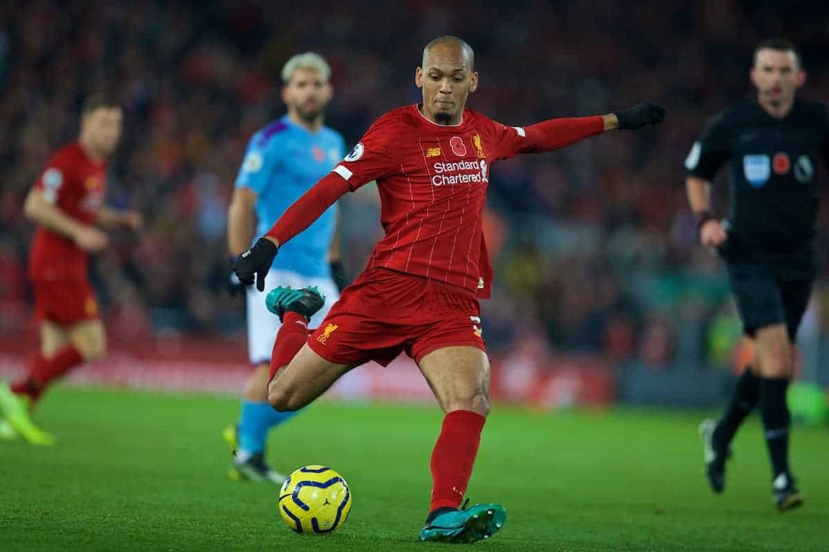 Liverpool's Fabio Henrique Tavares 'Fabinho' shoots during the FA Premier League match between Liverpool FC and Manchester City FC at Anfield. (Pic by David Rawcliffe/Propaganda)
