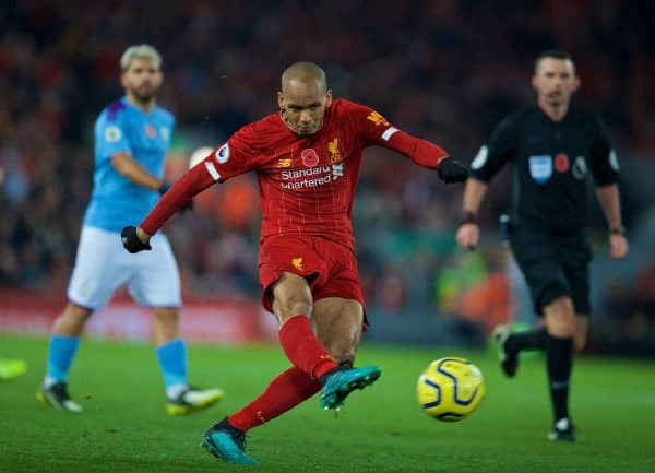 LIVERPOOL, ENGLAND - Sunday, November 10, 2019: Liverpool's Fabio Henrique Tavares 'Fabinho' shoots during the FA Premier League match between Liverpool FC and Manchester City FC at Anfield. (Pic by David Rawcliffe/Propaganda)