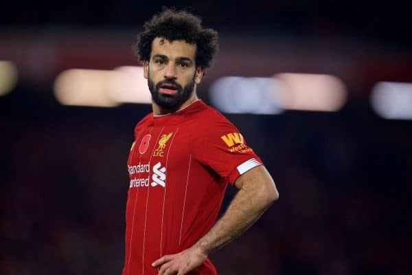 LIVERPOOL, ENGLAND - Sunday, November 10, 2019: Liverpool's Mohamed Salah during the FA Premier League match between Liverpool FC and Manchester City FC at Anfield. (Pic by David Rawcliffe/Propaganda)